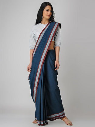 Blue-Red Malkha Saree
