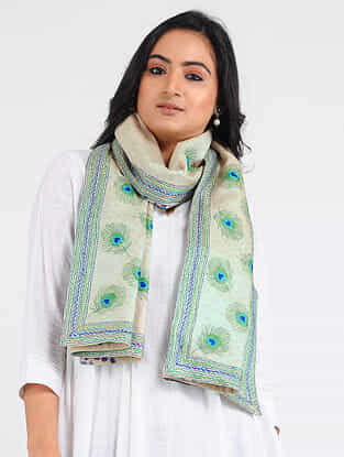 Ivory-Green Kantha-embroidered Tussar-Cotton Stole