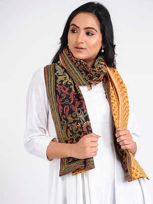 Black-Yellow Kantha-embroidered Silk-Cotton Stole