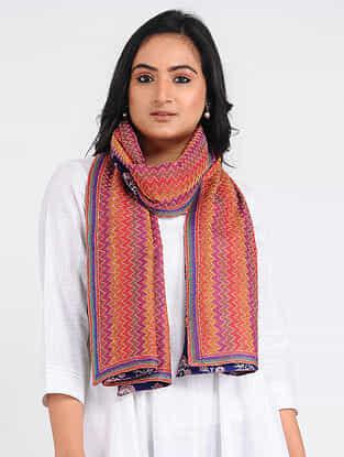 Purple-Yellow Kantha-embroidered Tussar-Cotton Stole