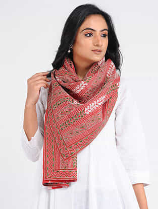 Red-Green Kantha-embroidered Tussar-Cotton Stole