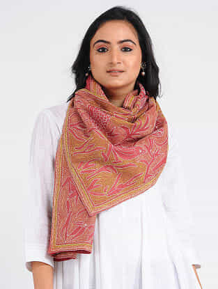 Red-Yellow Kantha-embroidered Tussar-Cotton Stole