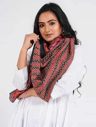 Red-Black Kantha-embroidered Tussar-Cotton Stole