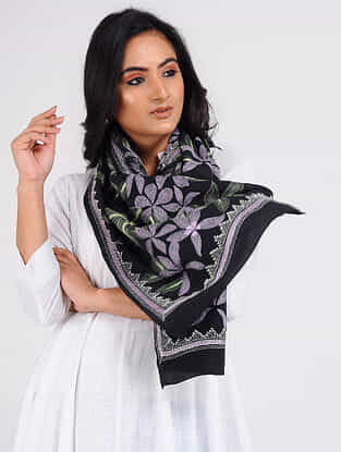 Black-Green Kantha-embroidered Crepe Stole