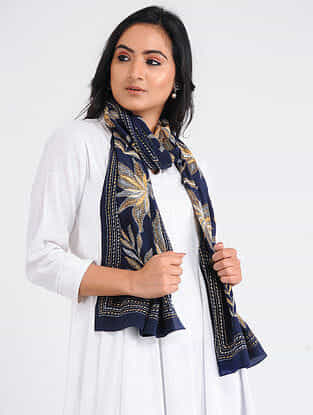 Blue-Yellow Kantha-embroidered Crepe Stole