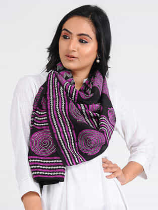 Black-Purple Kantha-embroidered Crepe Stole
