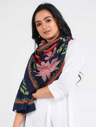 Blue-Pink Kantha-embroidered Crepe Stole