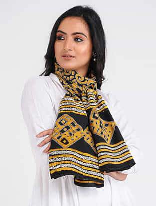 Black-Yellow Kantha-embroidered Crepe Stole