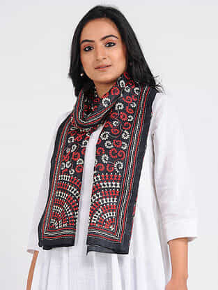 Black-Red Kantha-embroidered Tussar Silk Stole