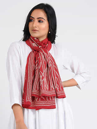Red-Ivory Kantha-embroidered Crepe Stole