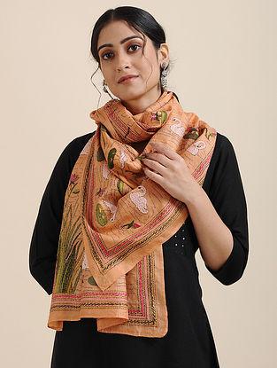 Orange-Ivory Kantha-embroidered Tussar Silk Scarf