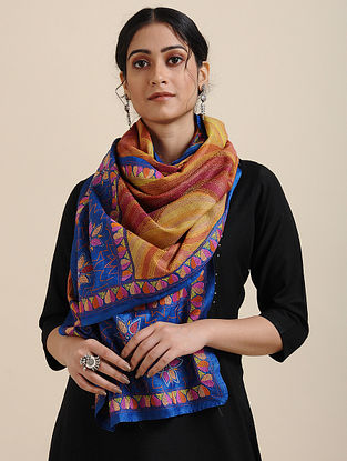 Yellow-Blue Kantha-embroidered Tussar Silk Scarf