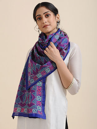Blue-Pink Kantha-embroidered Tussar Silk Scarf