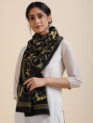 Black-Yellow Kantha-embroidered Silk Scarf