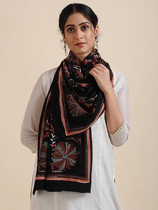 Black-Orange Kantha-embroidered Crepe Silk Scarf