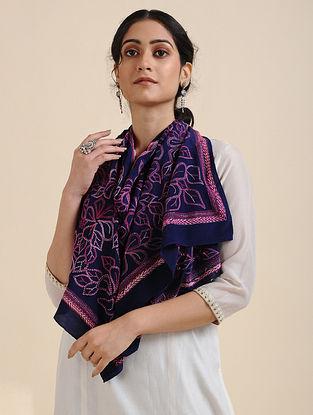 Blue-Pink Kantha-embroidered Crepe Silk Scarf