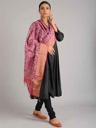 Pink Kantha Embroidered Chanderi Cotton Dupatta
