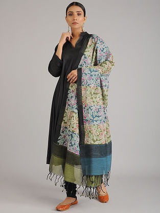 Blue-Green Kantha Embroidered Chanderi Cotton Dupatta