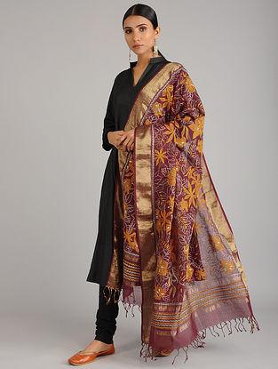Maroon Kantha Embroidered Chanderi Cotton Dupatta