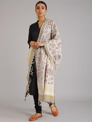 Ivory Kantha Embroidered Chanderi Cotton Dupatta