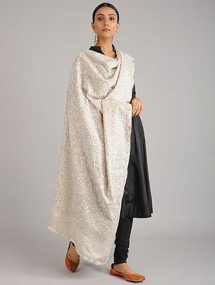 White Kantha Embroidered Tussar Silk Dupatta