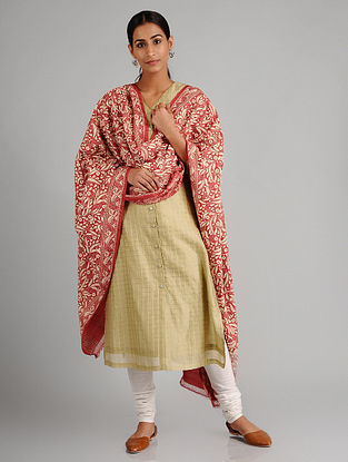 Red-Ivory Kantha Embroidered Tussar Silk Dupatta