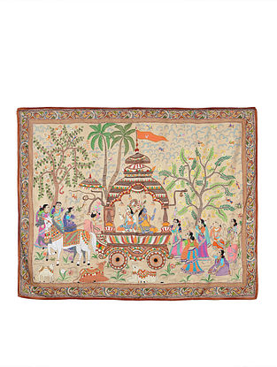 Village Scene Kantha Hand-embroidered Wall Art - 42in x 52in