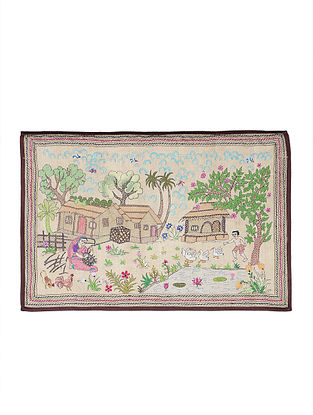 Village Scene Kantha Hand-embroidered Wall Art - 21in x 30.5in