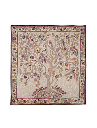 Tree of Life Kantha Hand-embroidered Wall Art - 41.5in x 41in