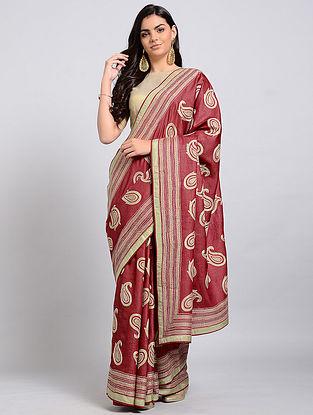 Red Kantha-embroidered Tussar Silk Saree