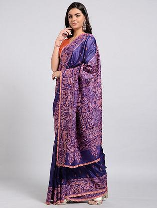 Purple-Peach Kantha-embroidered Tussar Silk Saree