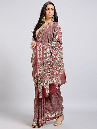 Red-Ivory Kantha-embroidered Tussar Silk Saree