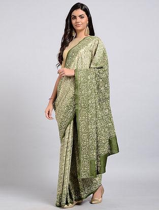 Green-Ivory Kantha-embroidered Tussar Silk Saree