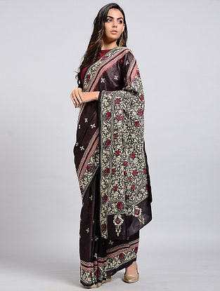 Burgundy-Ivory Kantha-embroidered Tussar Silk Saree
