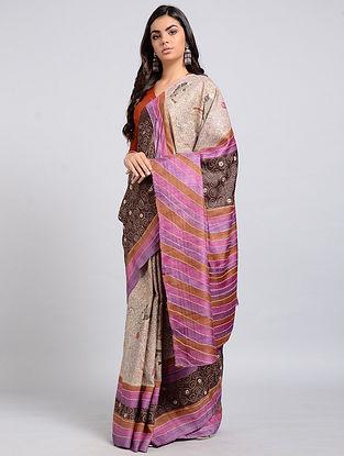Pink-Maroon Kantha-embroidered Tussar Silk Saree