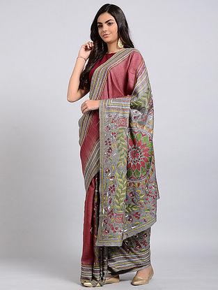 Red-Green Kantha-embroidered Tussar Silk Saree