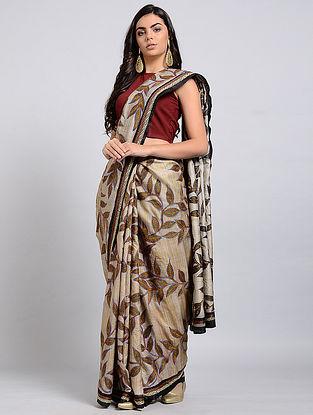 Beige-Yellow Kantha-embroidered Tussar Silk Saree