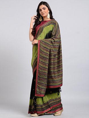 Green-Black Kantha-embroidered Crepe Silk Saree