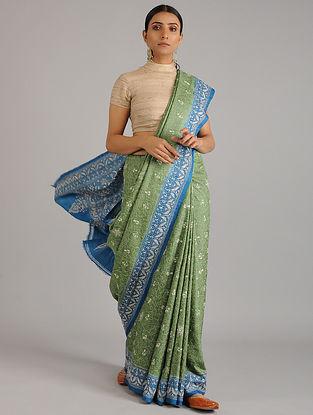 Green-Blue Kantha Embroidered Tussar Silk Saree