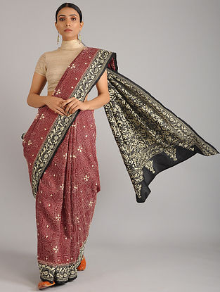 Red-Black Kantha Embroidered Tussar Silk Saree