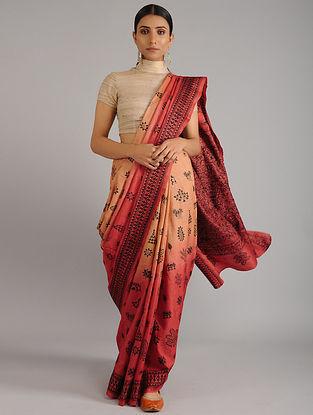 Orange Kantha Embroidered Tussar Silk Saree