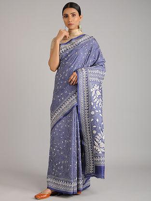 Blue Kantha Embroidered Tussar Silk Saree