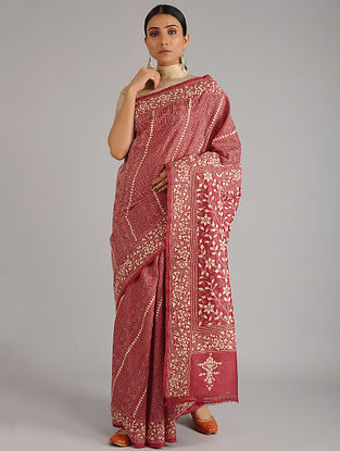 Red-Beige Kantha Embroidered Tussar Silk Saree
