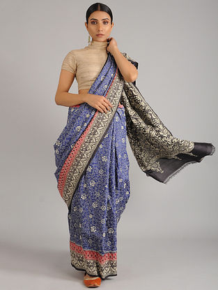 Blue-Black Kantha Embroidered Tussar Silk Saree