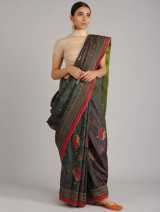 Black Kantha Embroidered Tussar Silk Saree