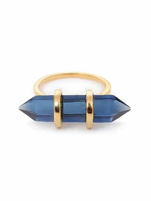 Blue Gold Tone Silver Ring (Ring Size: 6)