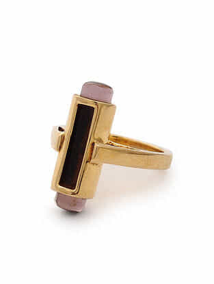 Purple Black Gold Tone Silver Ring (Ring Size: 5.5)