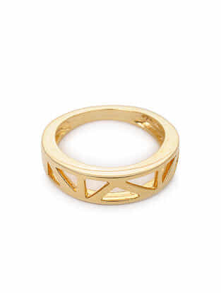 Gold Tone Silver Ring (Ring Size: 6.5)