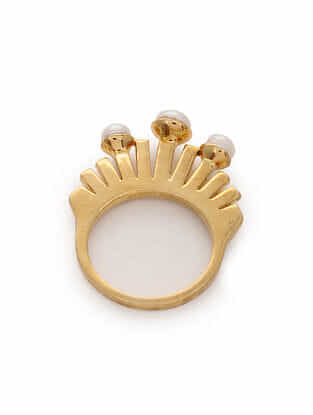 Gold Tone Silver Ring with Pearls (Ring Size: 6)