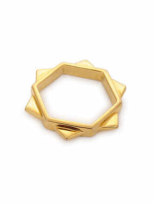 Gold Tone Silver Ring (Ring Size: 5)